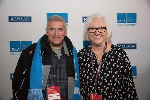 UCLA dean Teri Schwartz and Phil Kent