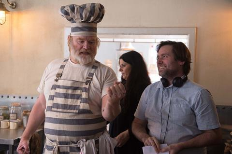 Brendan gleeson as knuckles mc ginty with paul king on the set of paddington 2 studiocanal
