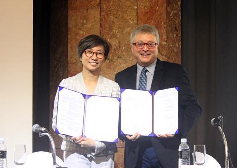 Kathy Kim and Michael Uslan