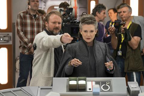 Rian Johnson and Carrie Fisher