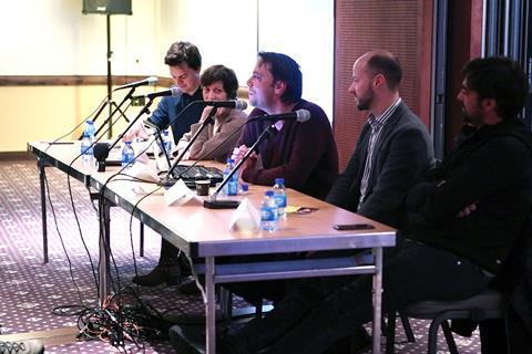 Tom grater (moderator, screen international), sylvie el sayegh, christophe bruncher, fabian gasmia and charles gillibert