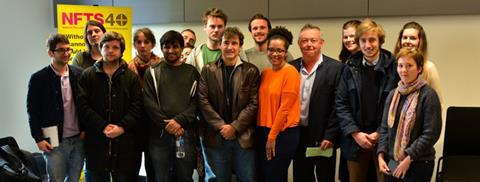 Albert Dupontel with NFTS students and Chris Auty NFTS head of producing