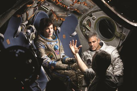 Alfonso Cuaron on the set of Gravity