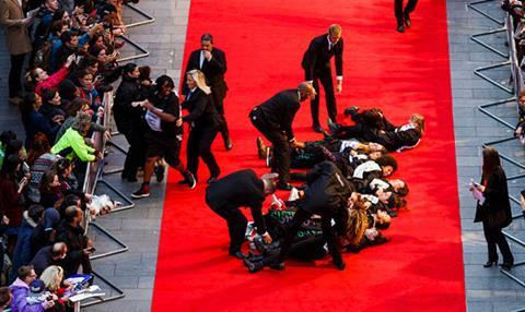 Protesters on red carpet at BFI London Film Festival