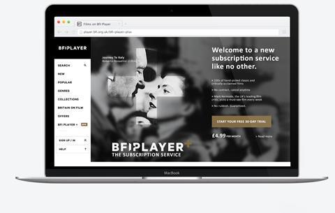 BFI Player Plus laptop