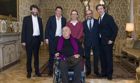 dario franceschini (minister of culture), Matteo Renzi (prime minister), Roberto Benigni, Giuseppe Tornatore, Paolo Sorrentino, Bernardo Bertolucci