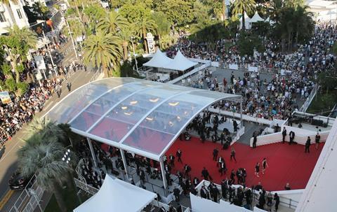 Cannes red carpet from above