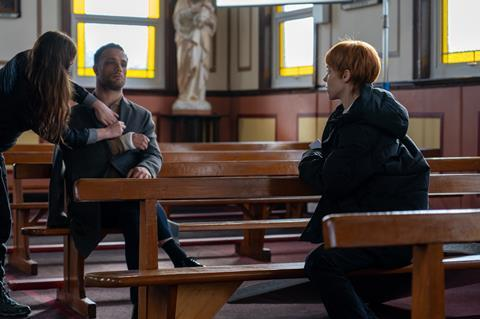 Cosmo Jarvis, Antonia Campbell-Hughes on set of 'It Is In Us All'