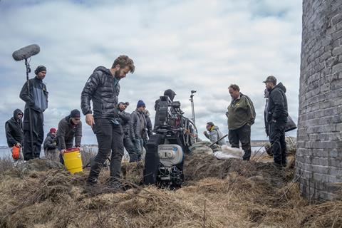 Cinematographer Jarin Blaschke on the set of THE LIGHTHOUSE078_LH_00283_R