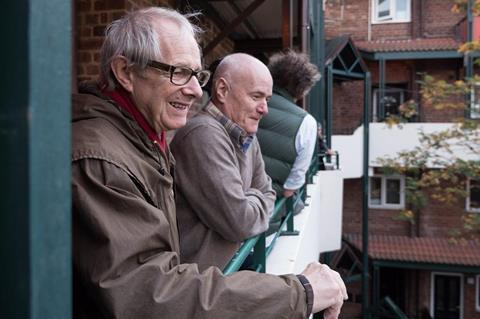 Ken Loach on the set of I Daniel Blake