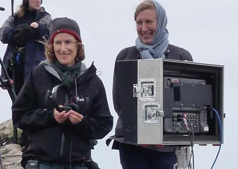 Joanna Hogg (left) and Gayle Griffiths on set