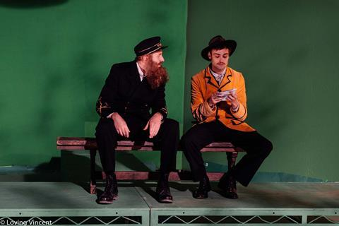 Loving vincent chris o'dowd as postman joseph roulin and douglas booth as armand roulin on set