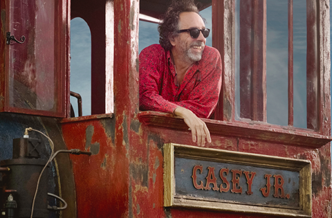 Tim Burton on set of Dumbo