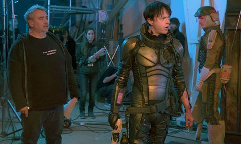 Luc Besson on the set of Valerian