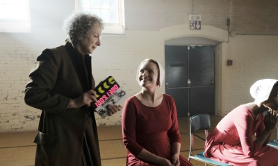 Elizabeth Moss and Margaret Atwood in The Handmaid's Tale