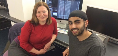 Editor Tina Gonzalez and Screen NETS editing trainee Kal Singh Lally