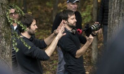 The Duffer Brothers on set